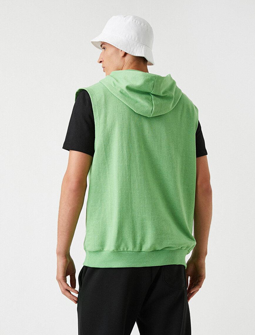 Kapşonlu Kolsuz Sweatshirt