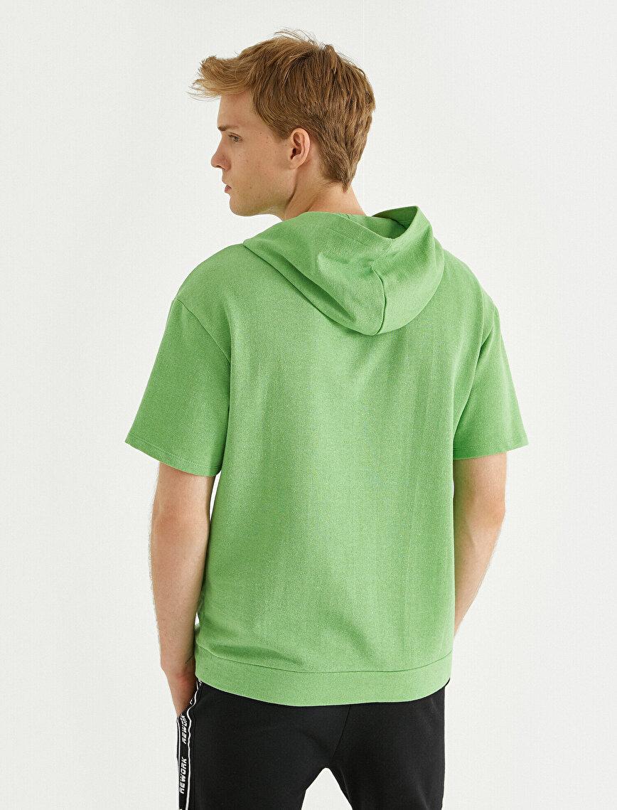 Aslan İşlemeli Sweatshirt Kapşonlu Kısa Kollu