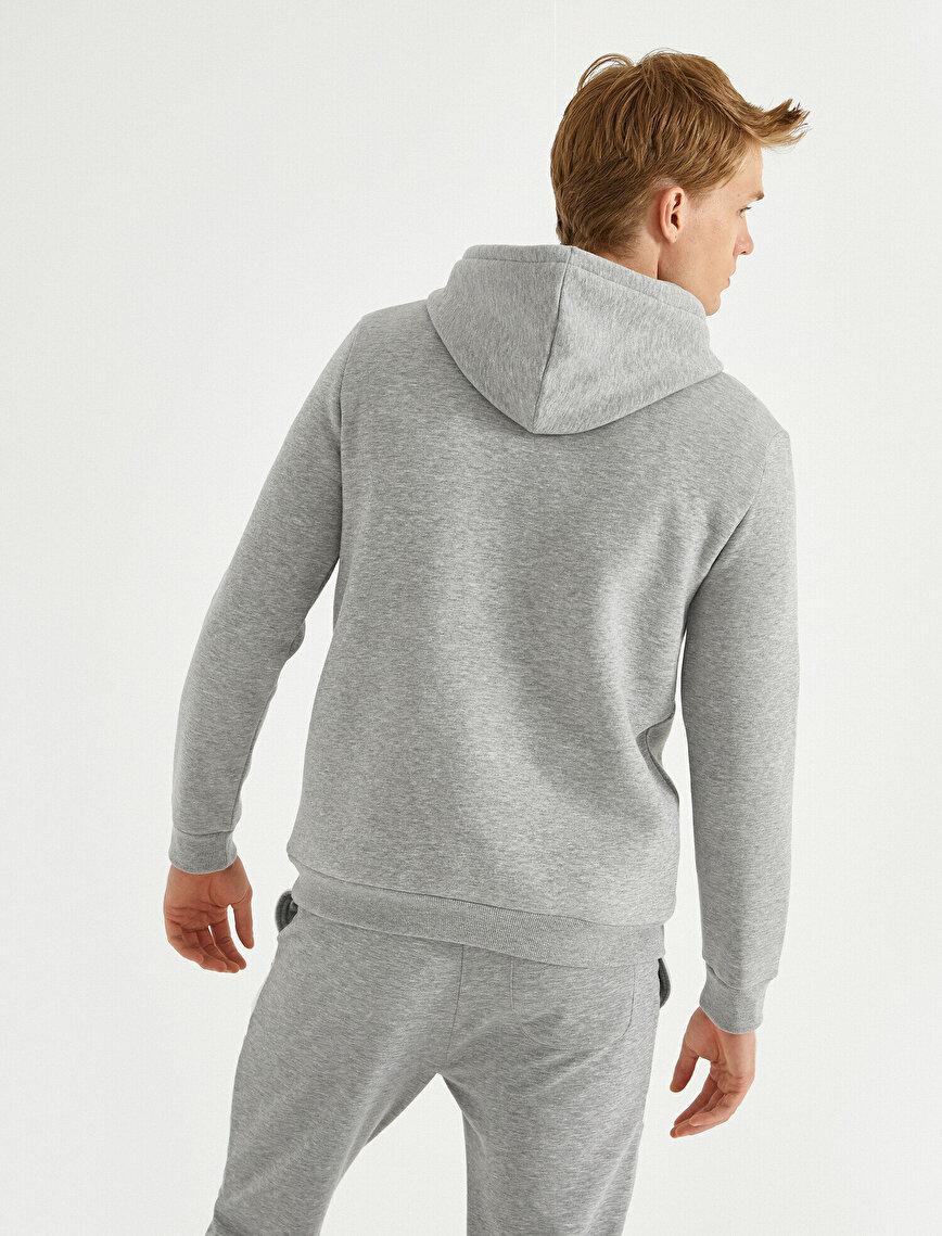 Baskılı Kapşonlu Sweatshirt