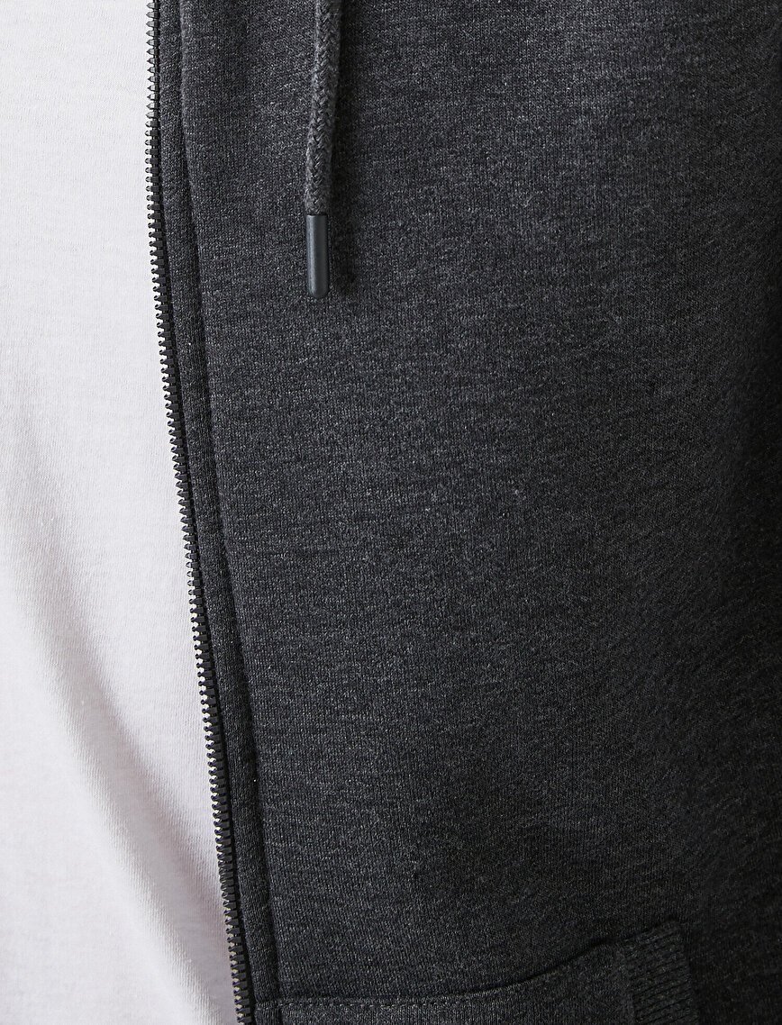 Fermuarlı Sweatshirt Kapşonlu