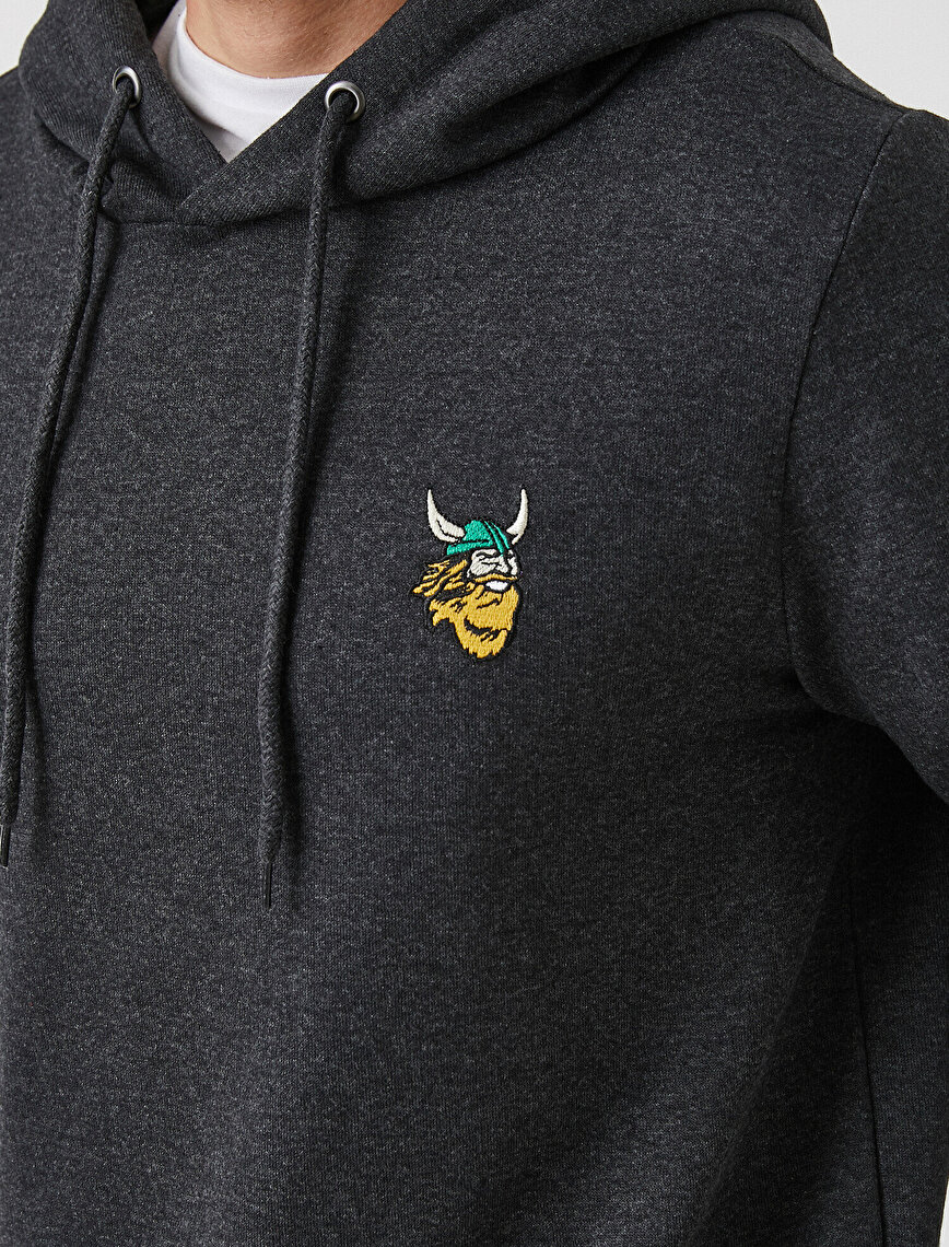 Viking Embroided Sweatshirt Hooded