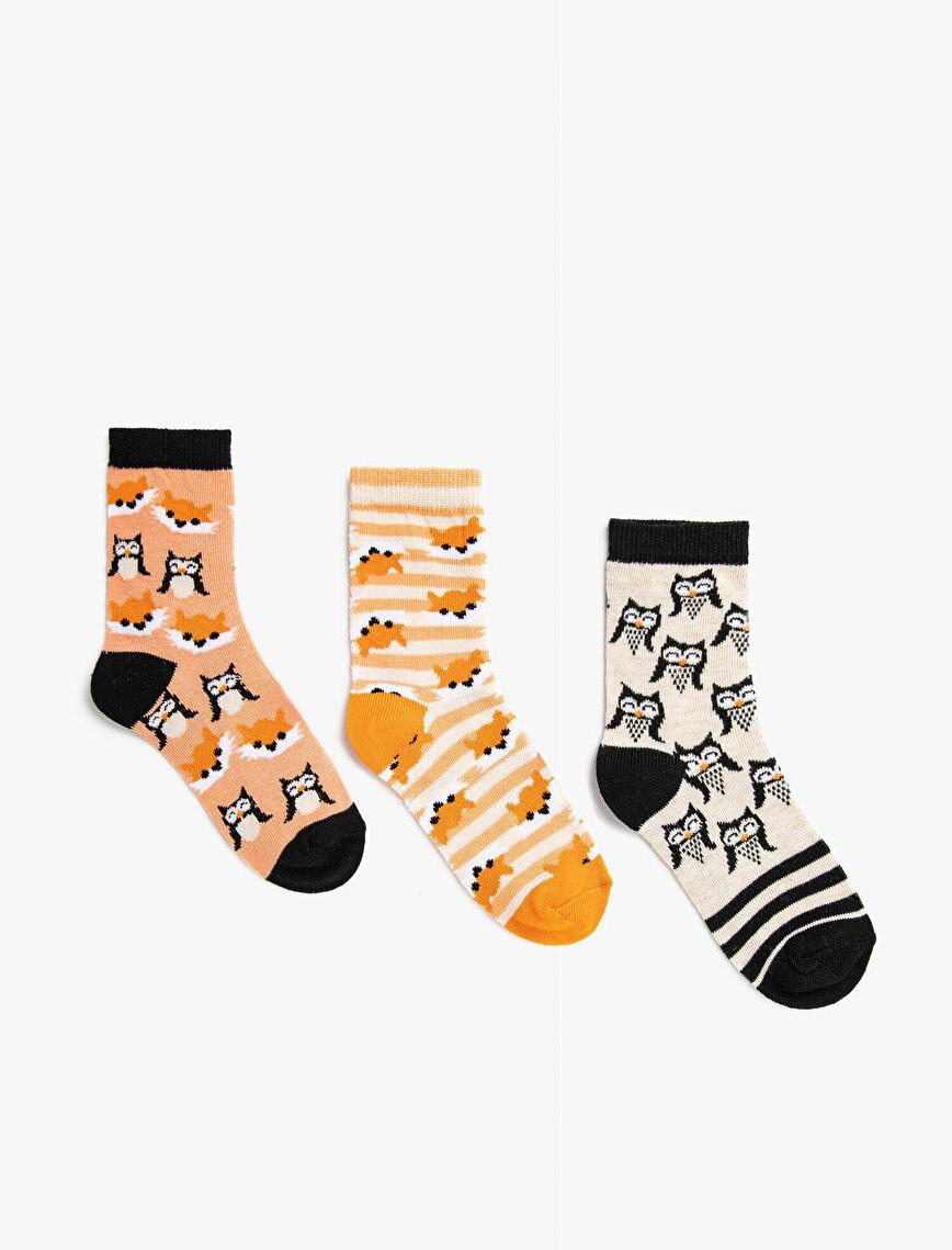 Kız Çocuk Hayvan Desenli Çorap Seti 3'lü
