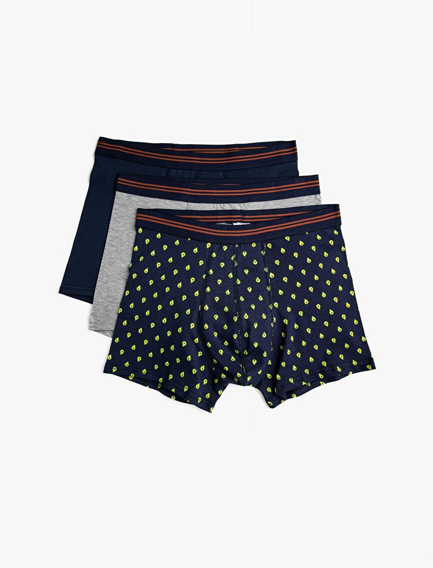 Patterned Cotton Basic Boxer Set 3-Packs
