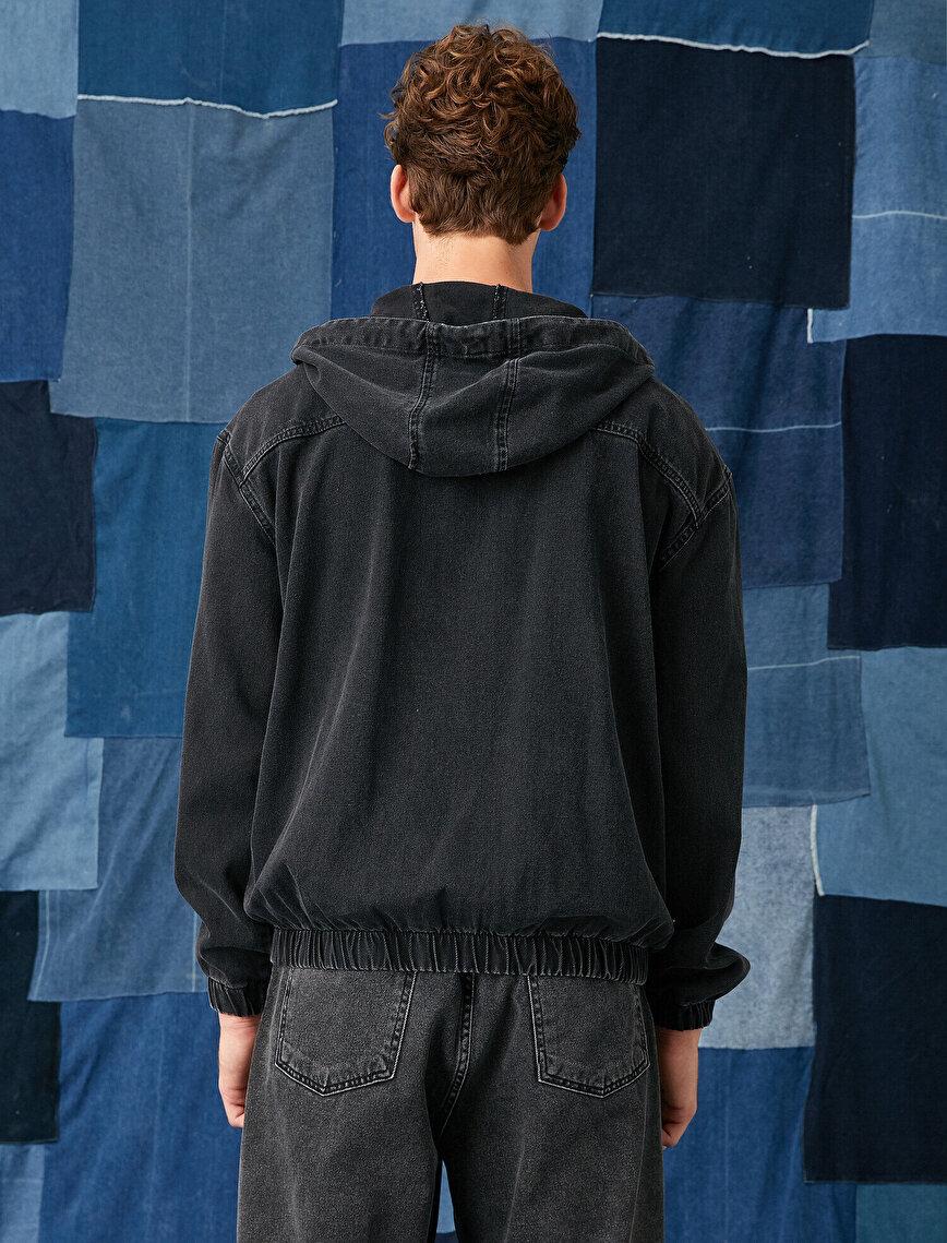 Printed Jean Jacket Hooded