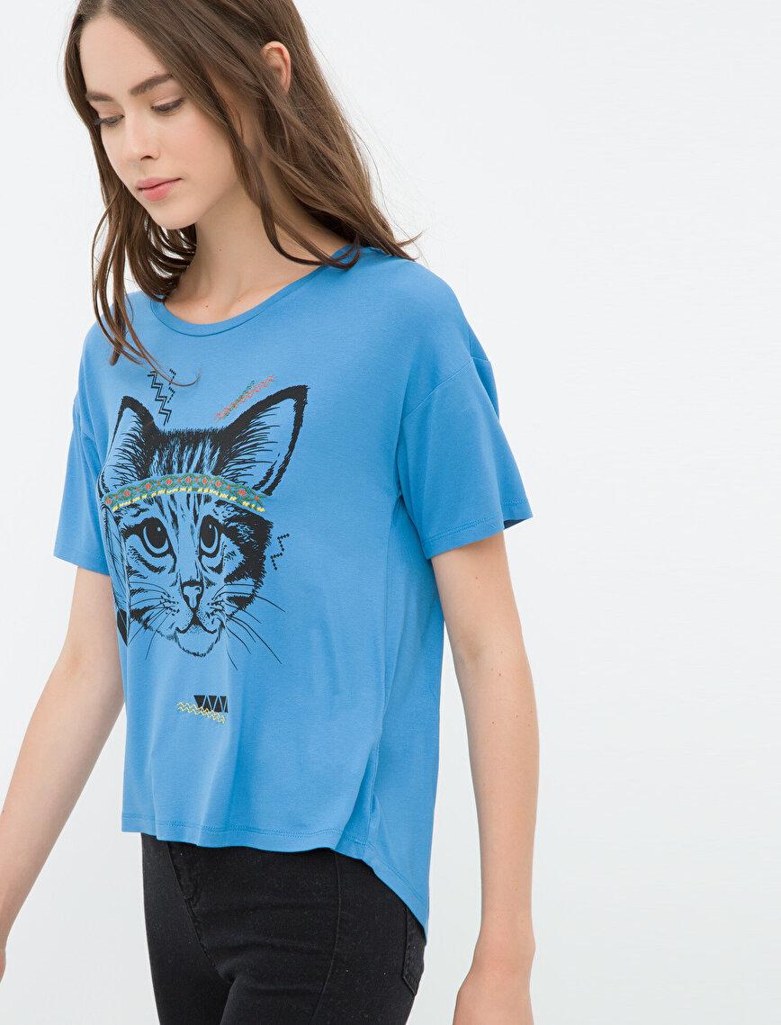 Kedi Baskılı T-Shirt
