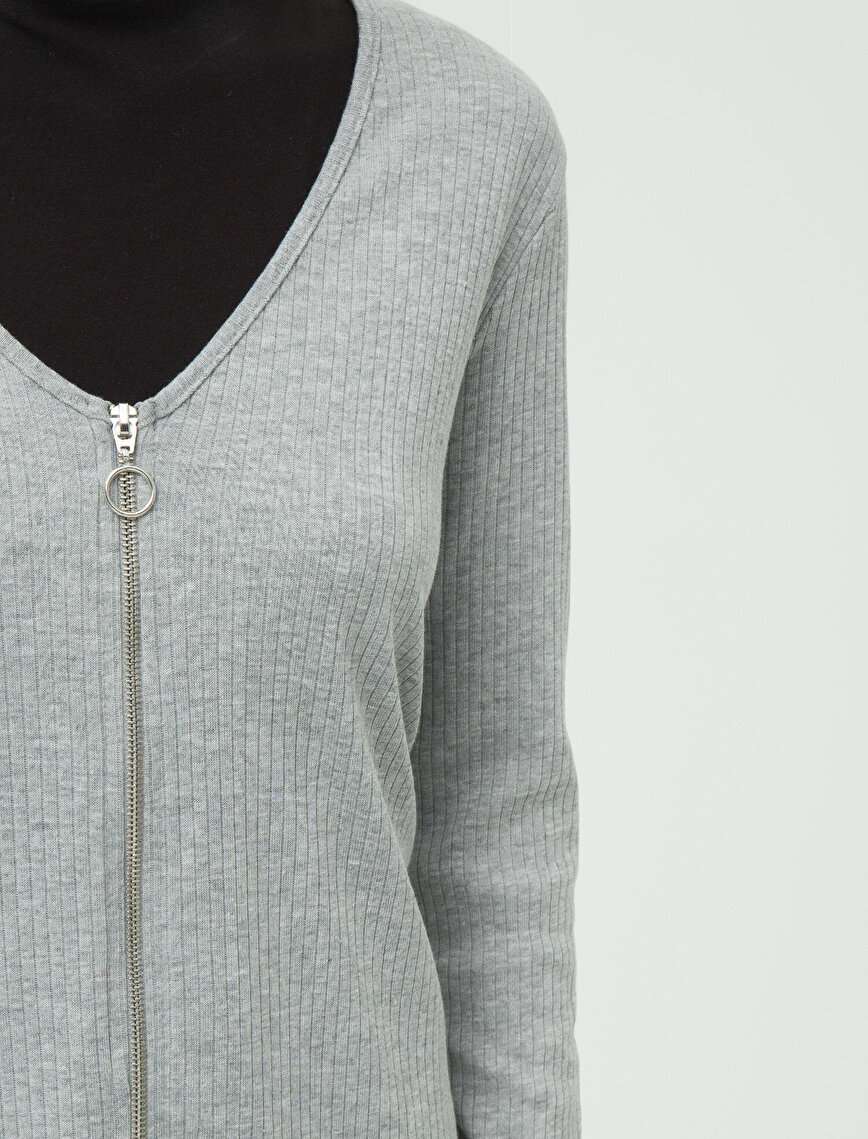 Zipper Detailed Cardigan