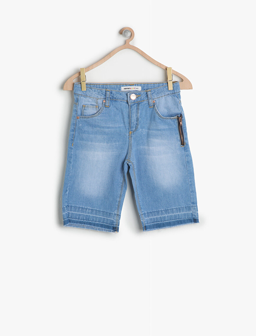 Zipper Detailed Jean Shorts