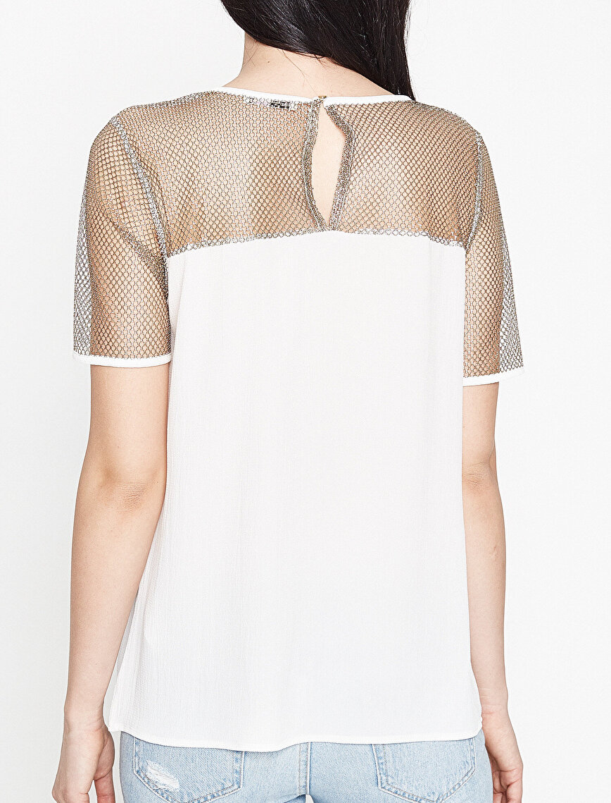 Koton Plus Mesh Detailed Blouse