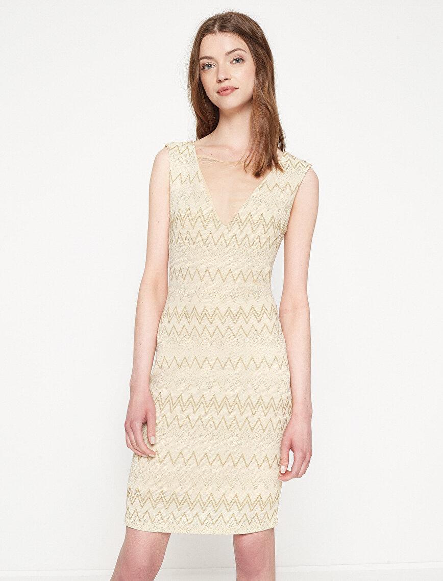 f2d7df14df048 Altın Rengi Bayan Desenli Elbise 7YAK84043FK09G | Koton