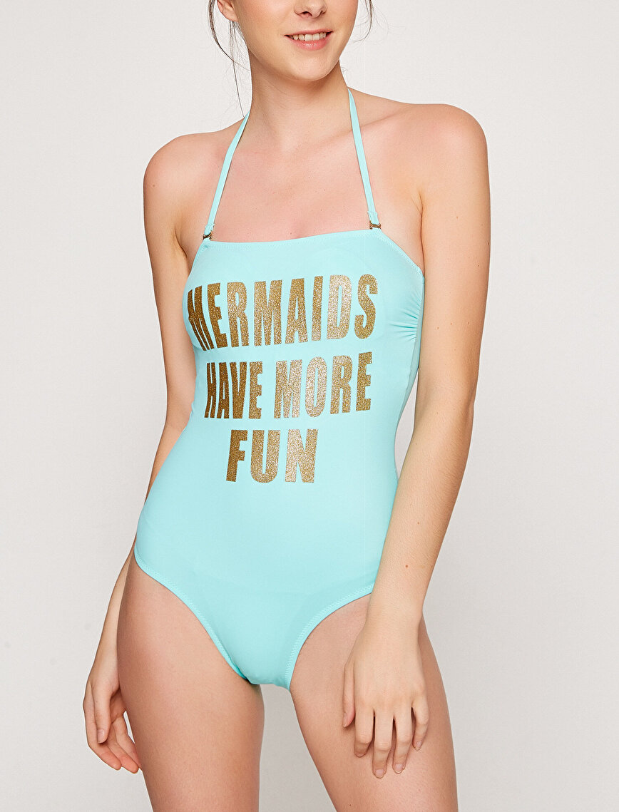 Letter Printed Swimsuit