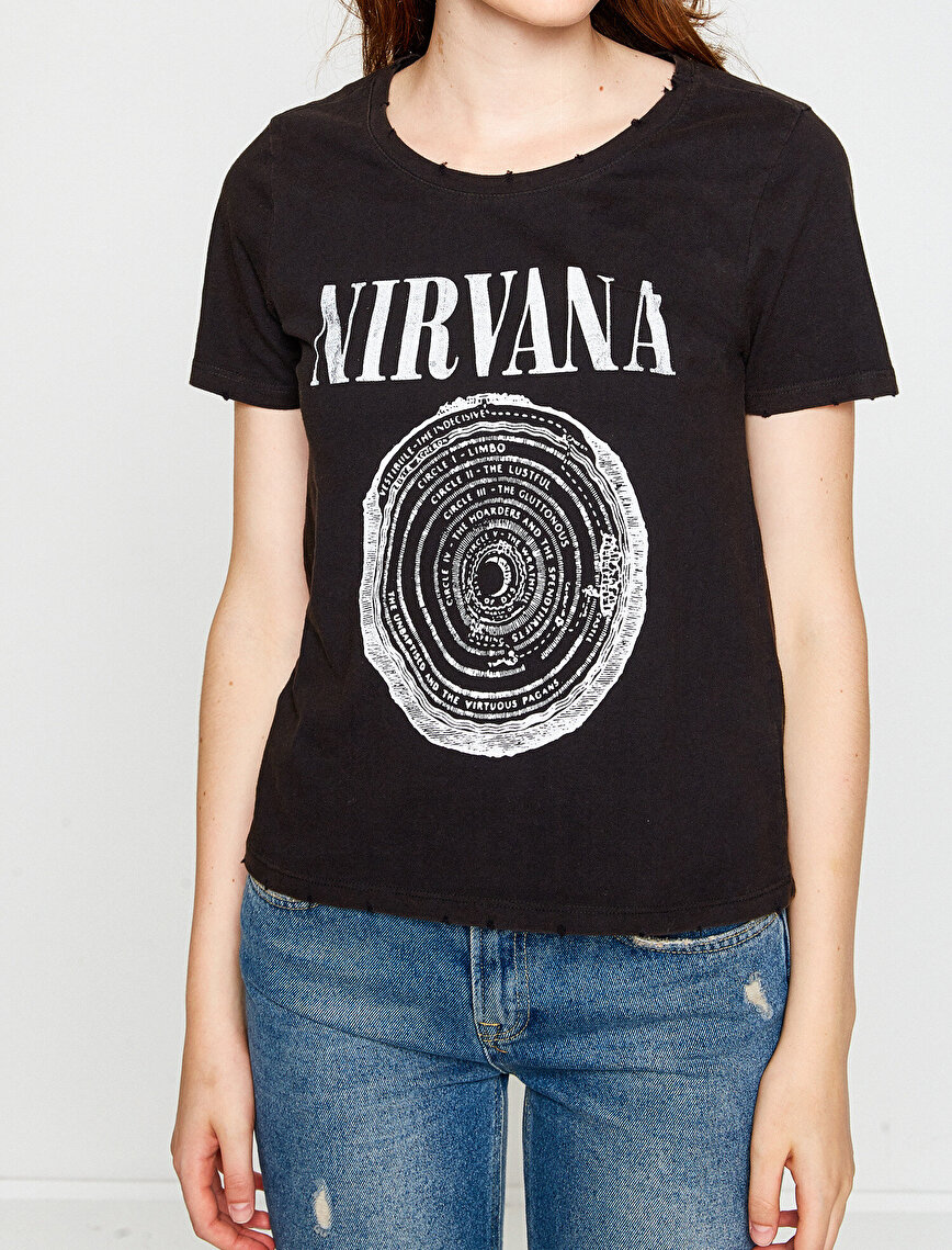 Music Licenced Letter Printed T-Shirt