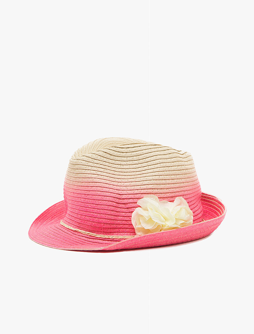 Çiçekli Hasır Şapka