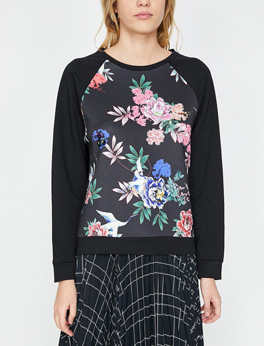 Çiçekli Sweatshirt