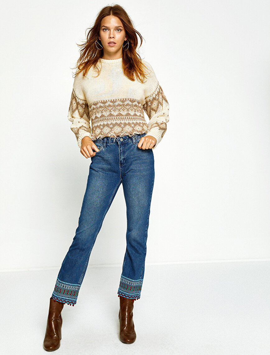 Fahriye Evcen For Koton Jeans Trouser