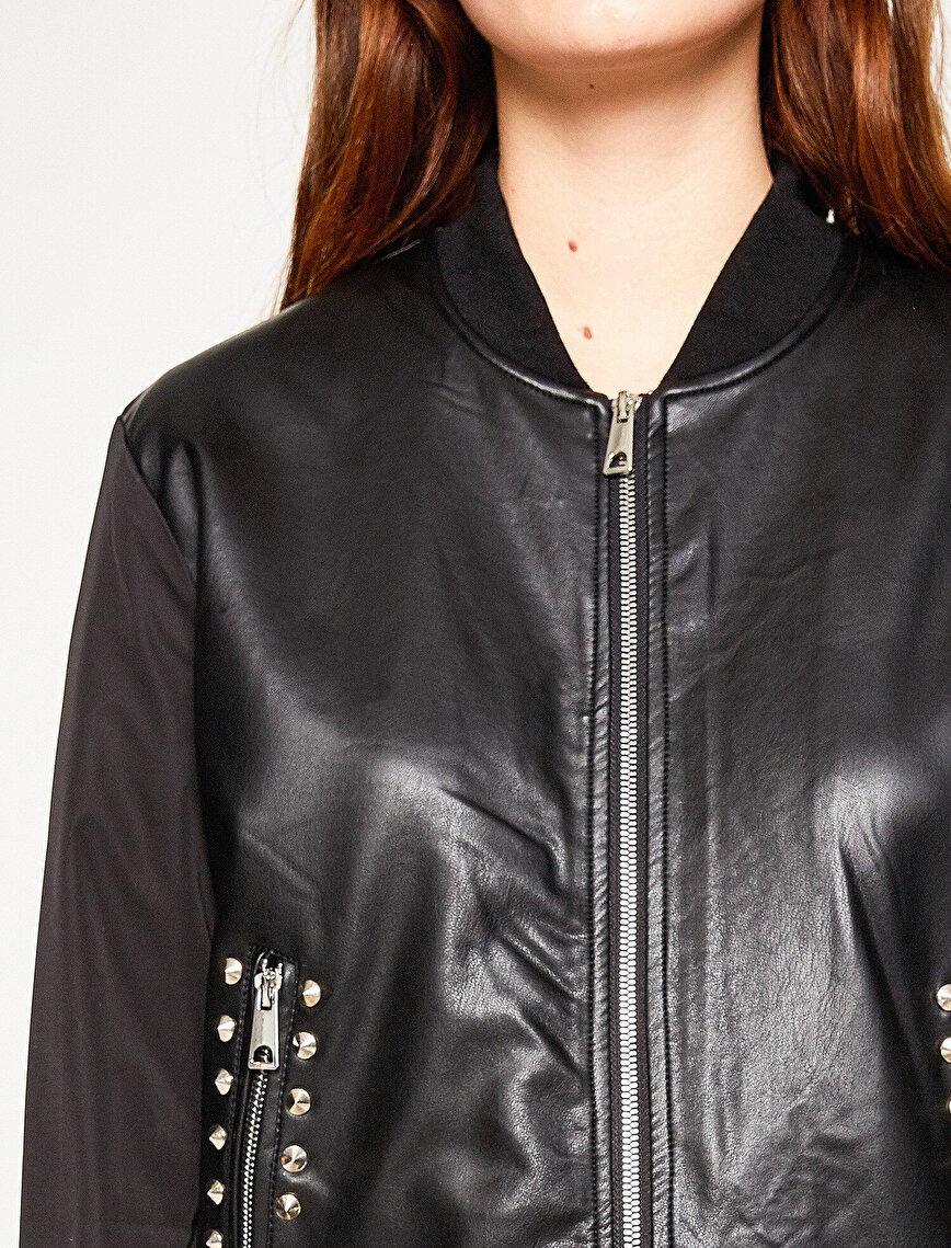 Embellished Bomber Coat