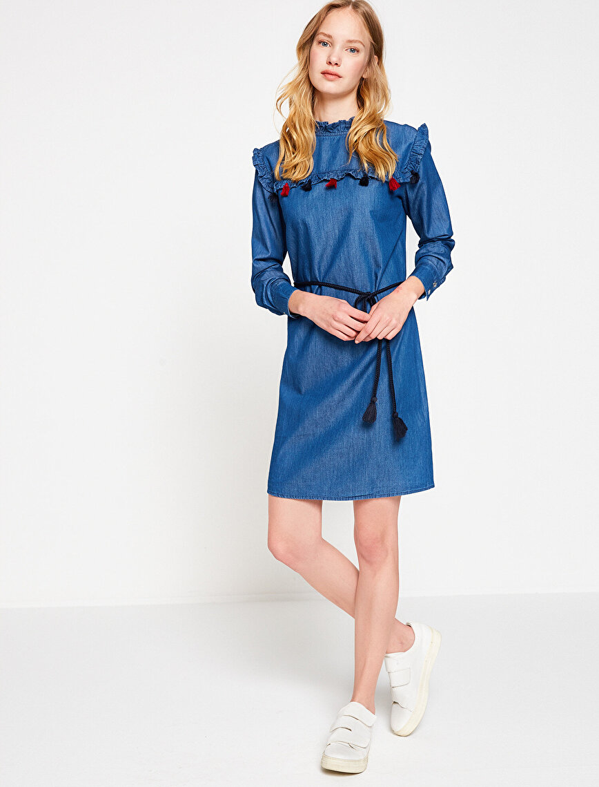 Pom Detailed Jean Dress
