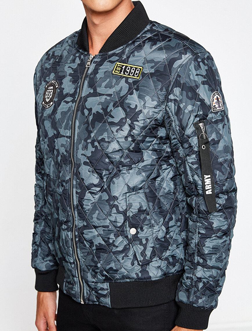 Camouflage Patterned Bomber Jacket