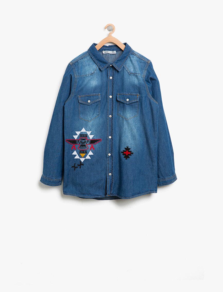 Printed Jean Shirt