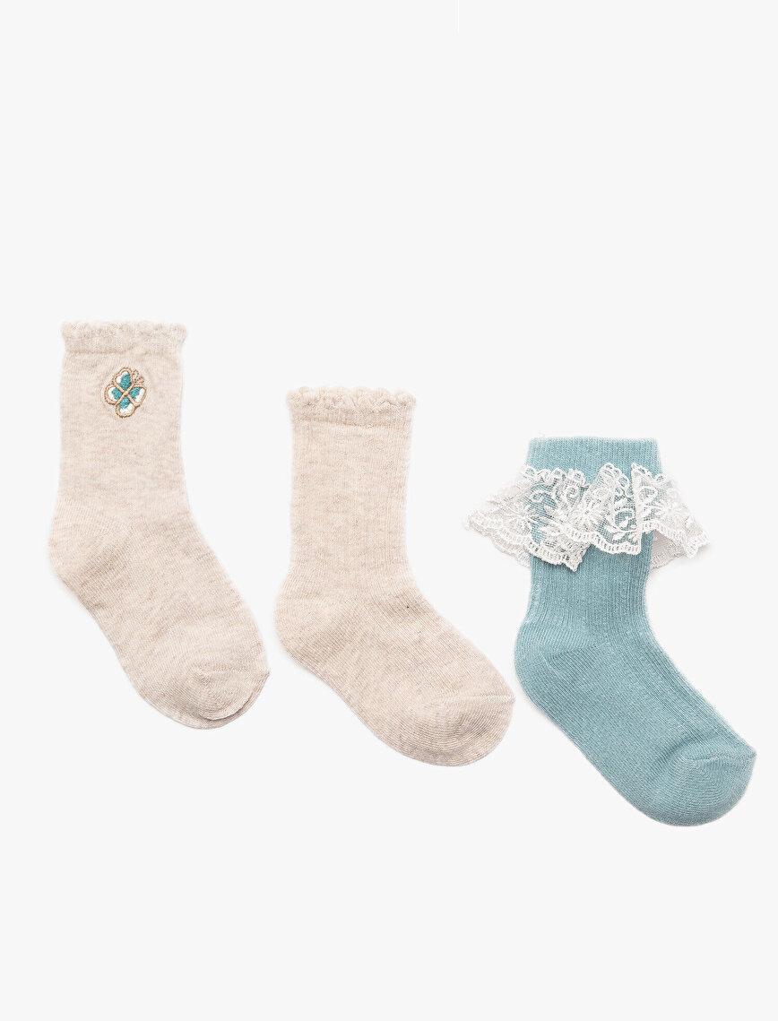 Dantel Detaylı Kız Bebek Çorabı