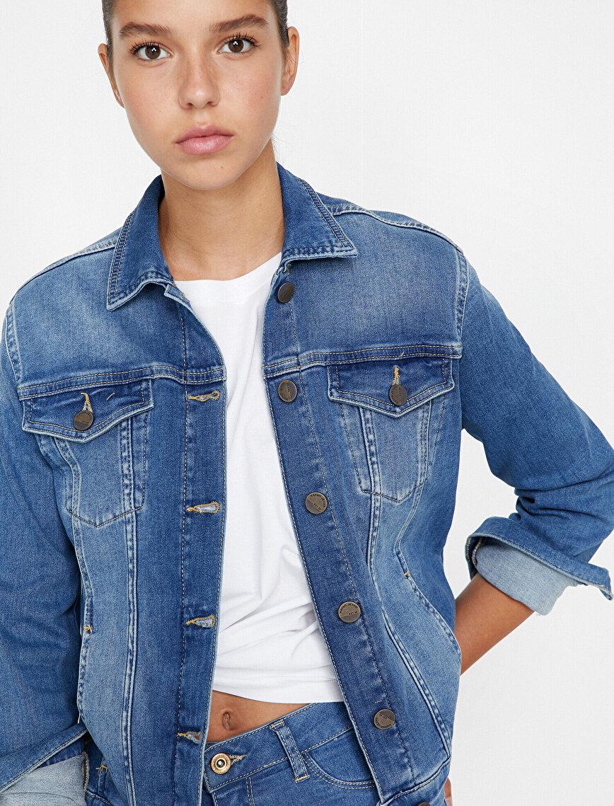 Klasik Yaka Jean Ceket