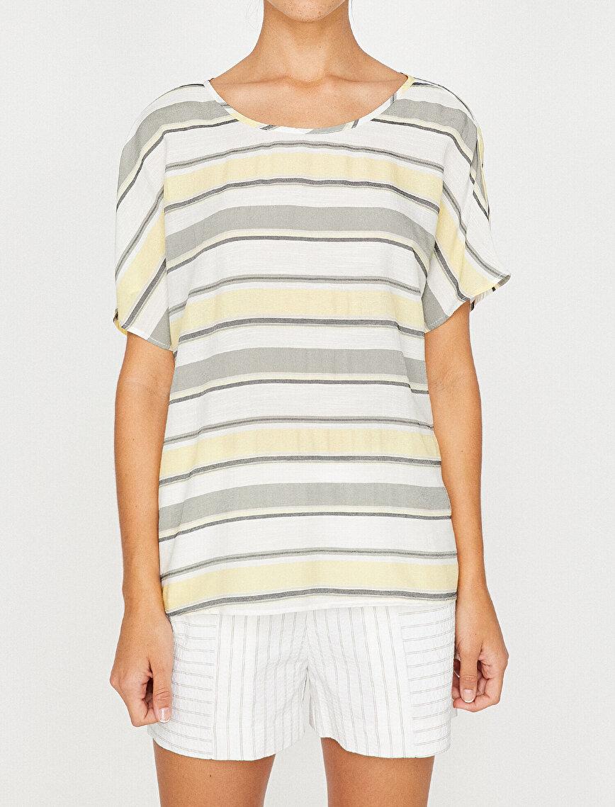 Renk Bloklu Bluz