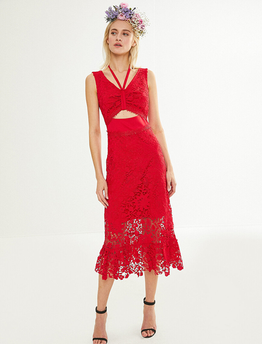 Zeynep Tosun For Koton Lace Detailed Dress