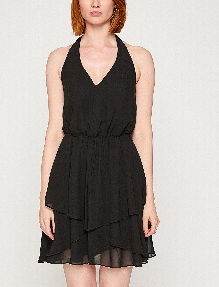 Back Detailed V Neck Dress