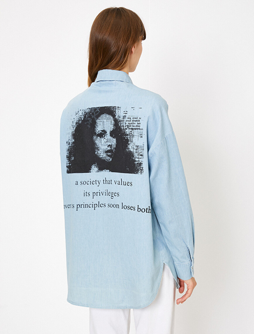 Letter Printed Jean Shirt