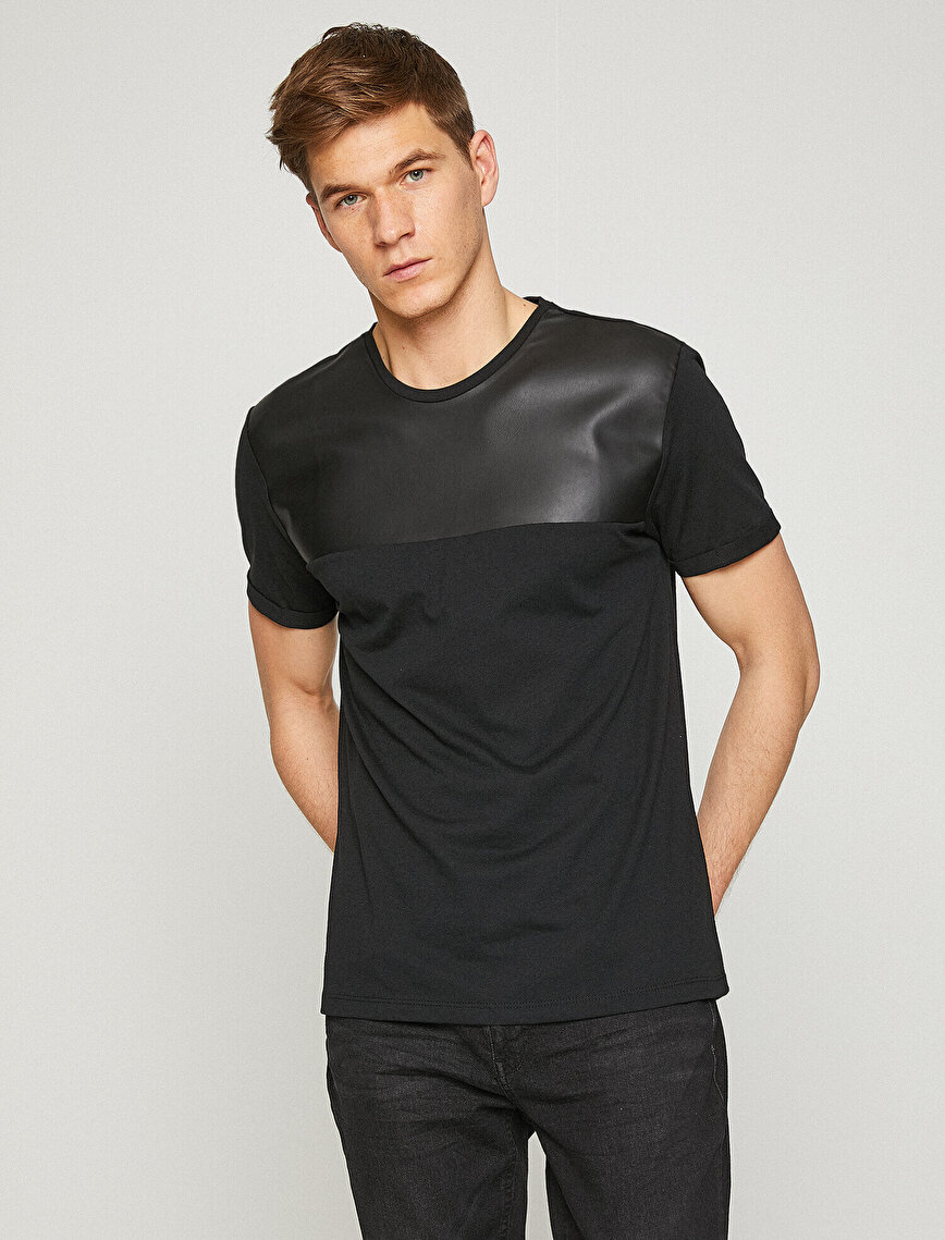 Leather Detailed T-Shirt