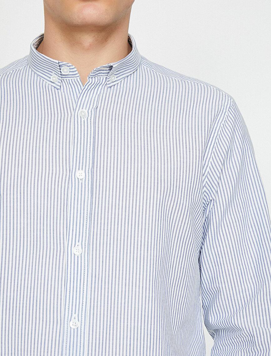 Yarım İtalyan Yaka Düğmeli Çizgili Uzun Kollu Gömlek