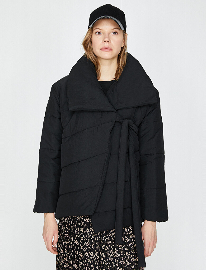 Tie Detailed Puffer Coat