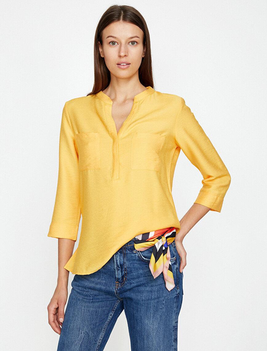 Cep Detaylı Bluz
