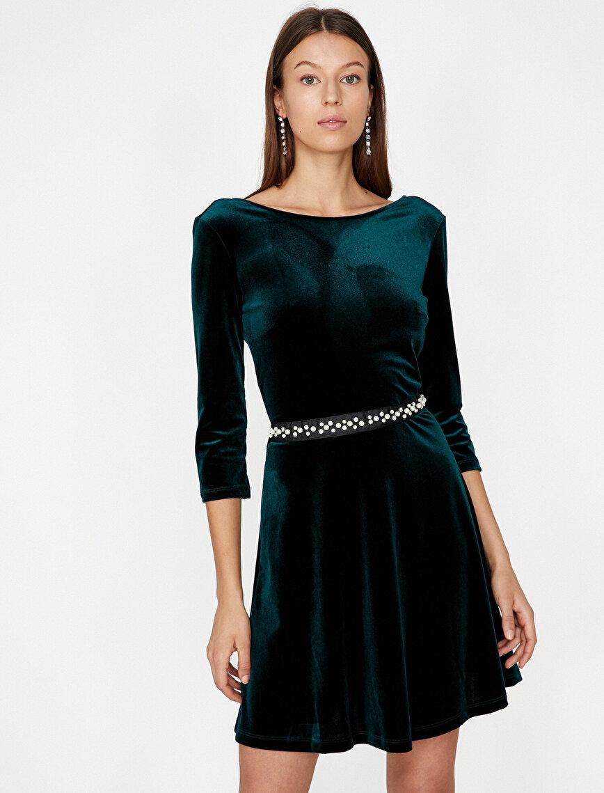 İnci Detaylı Elbise