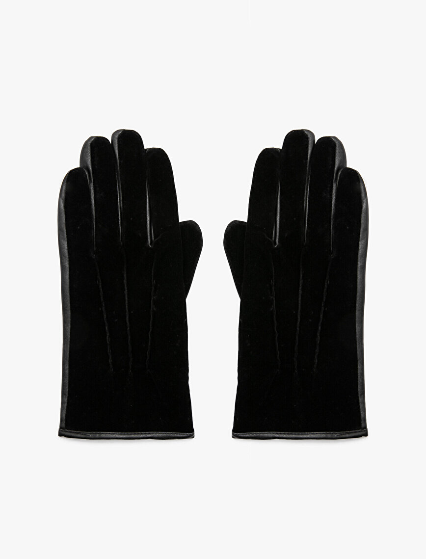 Leather Detailed Gloves