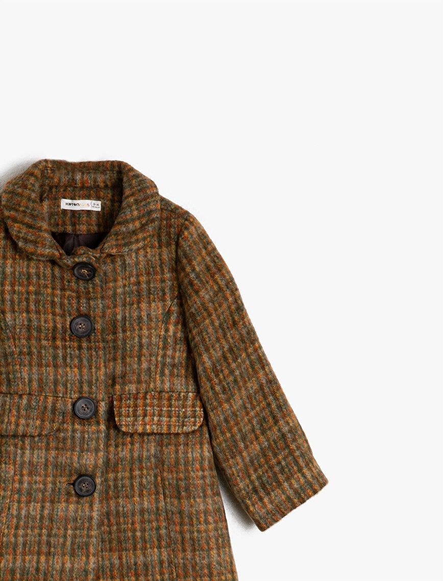 Patterned Pocket Button Detailed Coat