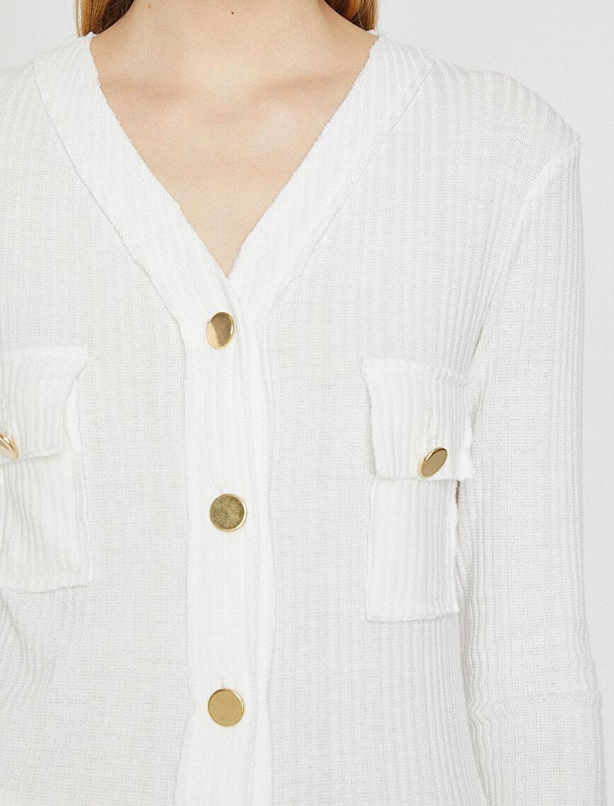 Altın Düğme Detaylı Uzun Kollu Tshirt