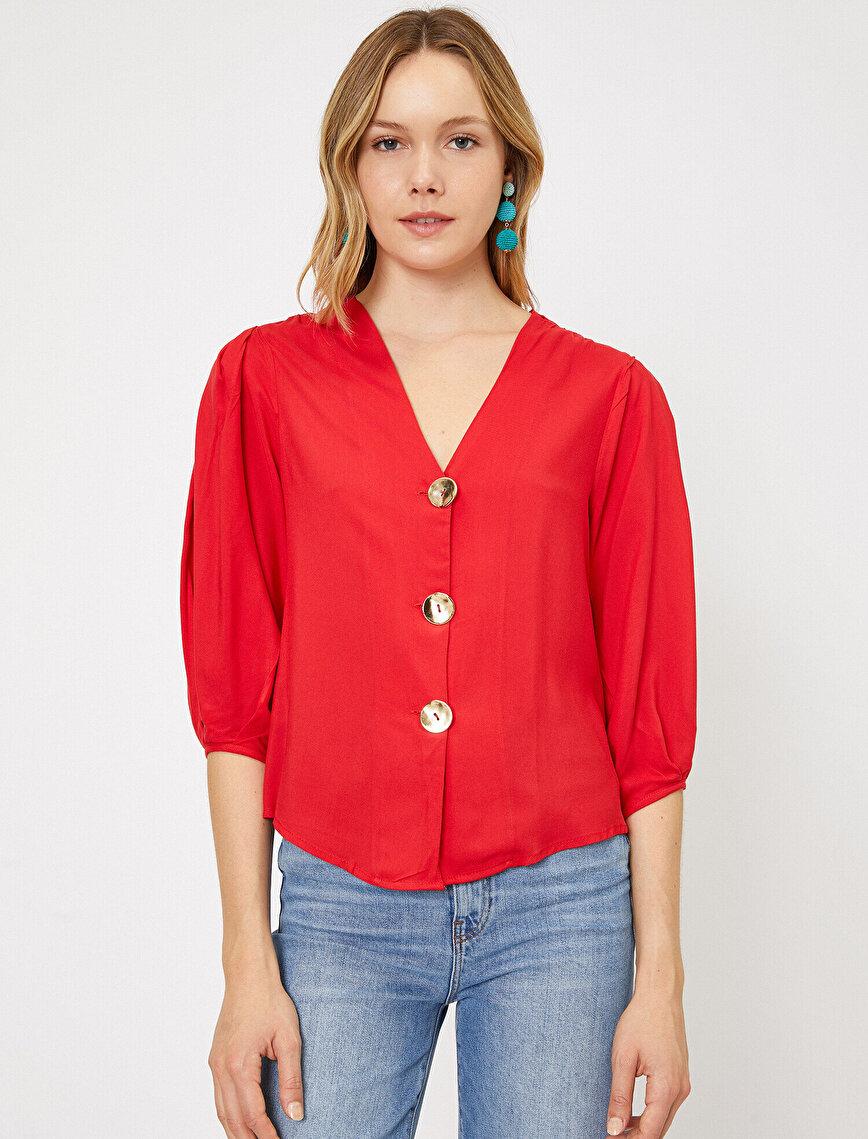 Düğme Detaylı Bluz
