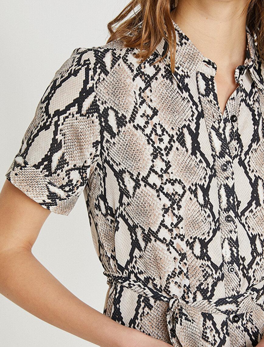 Animal Desenli Önden Düğmeli Kuşaklı Elbise