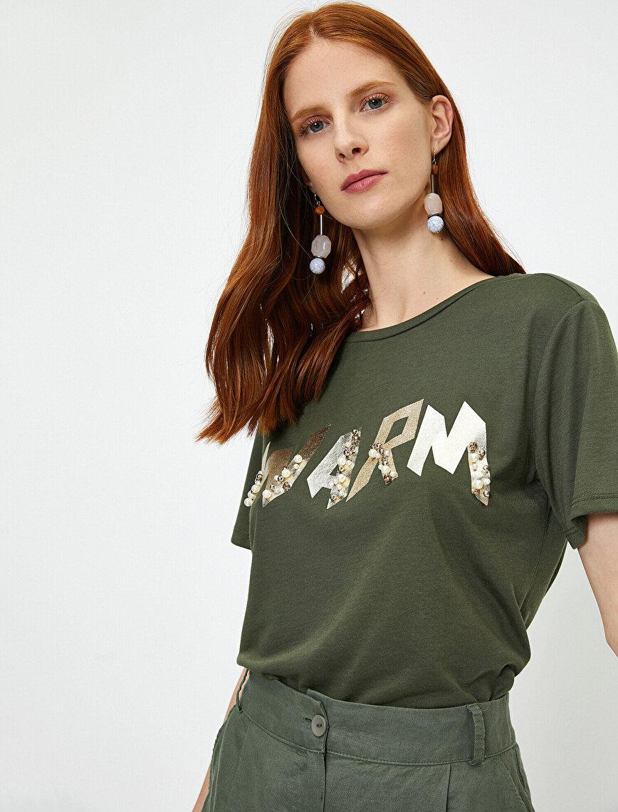 İnci Detaylı T-Shirt