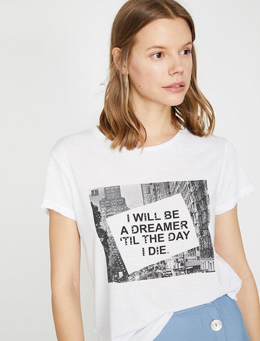 Slogan Baskılı Standart Kalıp Bisiklet Yaka Tişört