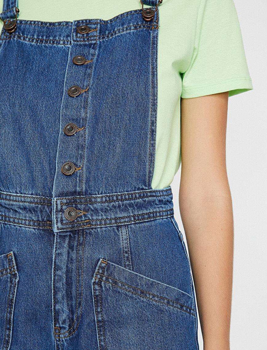 Pocket Detailed Jean Jumpsuit