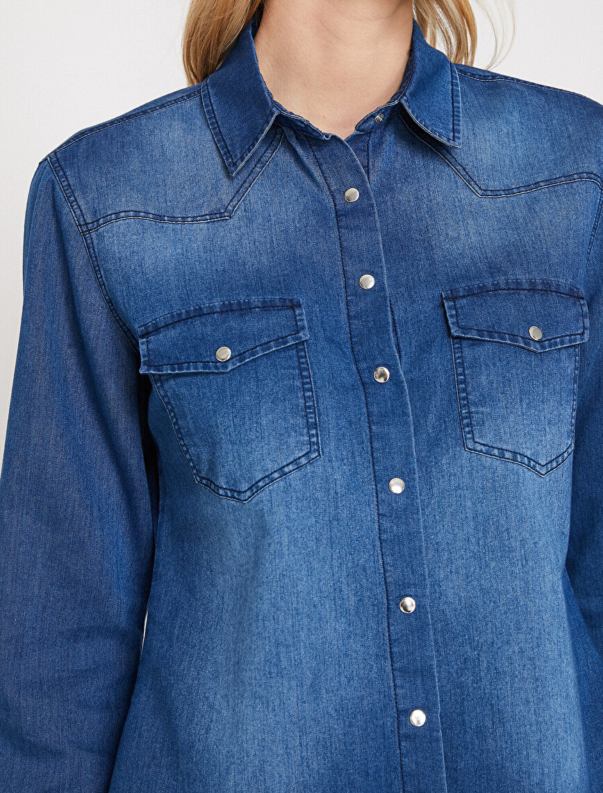 Pocket Detailed Jean Shirt
