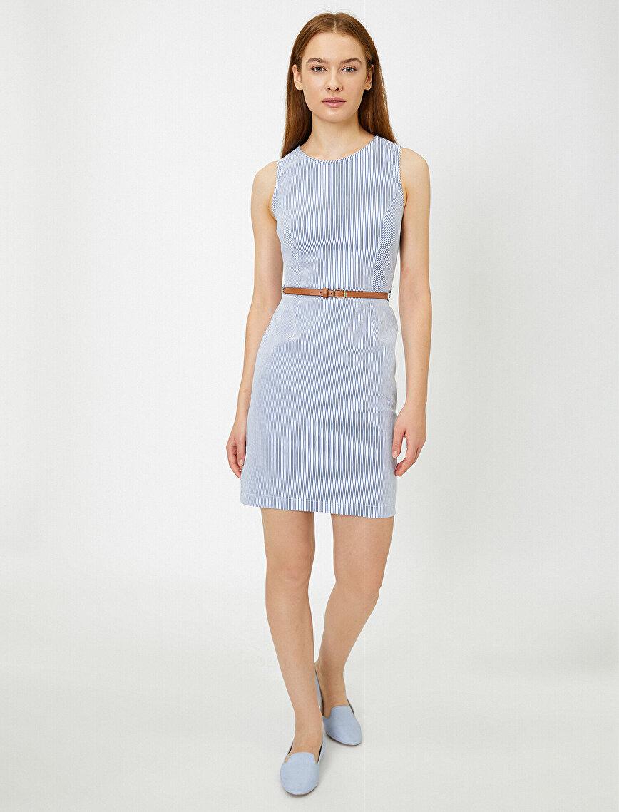 Kemer Detaylı Çizgili Elbise