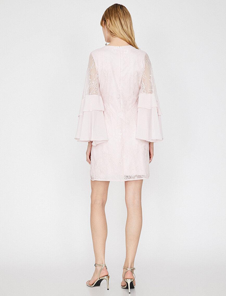 Dantel Detaylı Elbise Abiye Şifon V Yaka Volanlı Mini