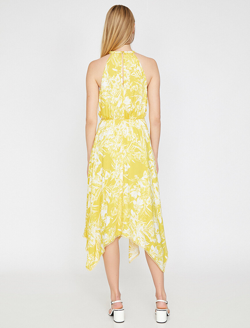 Çiçek Desenli Asimetrik Elbise