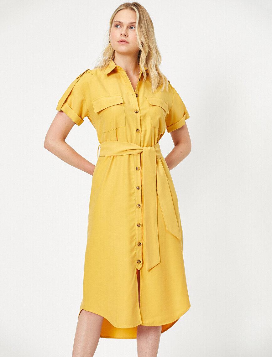 Cep Detaylı Gömlek Elbise
