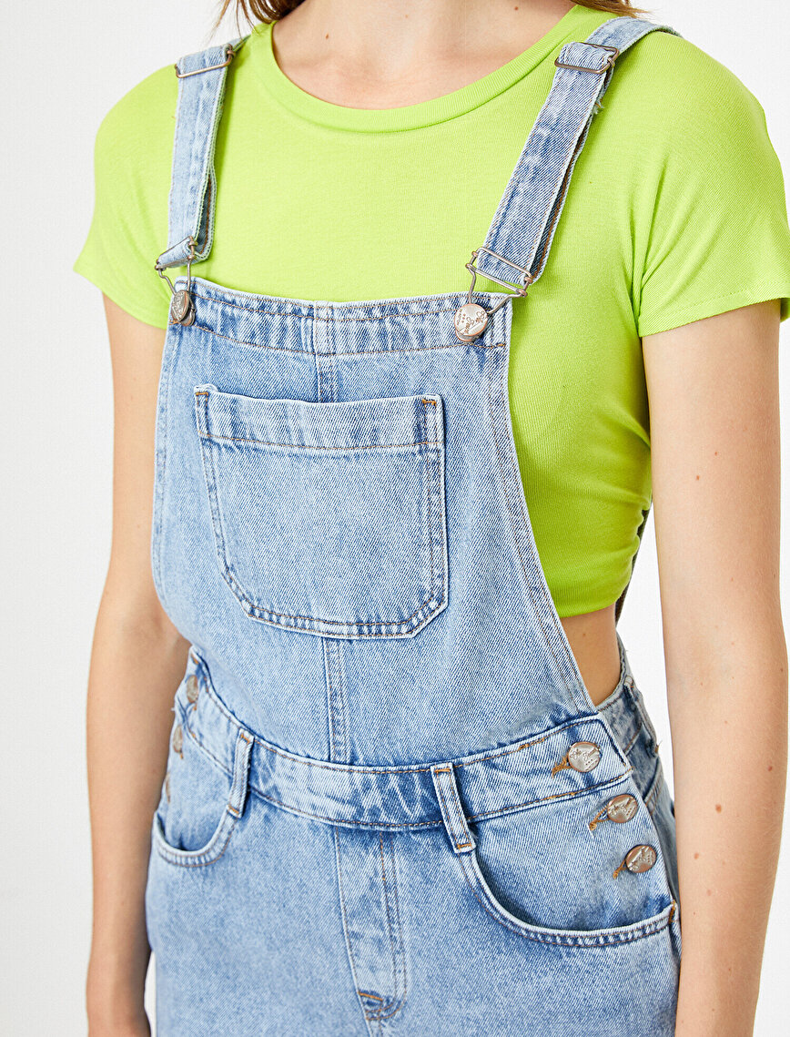 Pocket Detailed Jean Jumpsuit