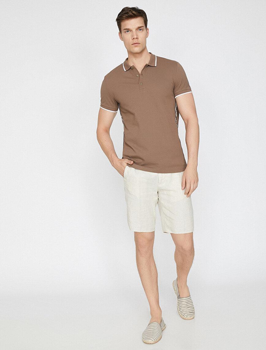 Polo Yaka Yanları Şerit Detaylı Pike Kumaş Slim Fit Tişört