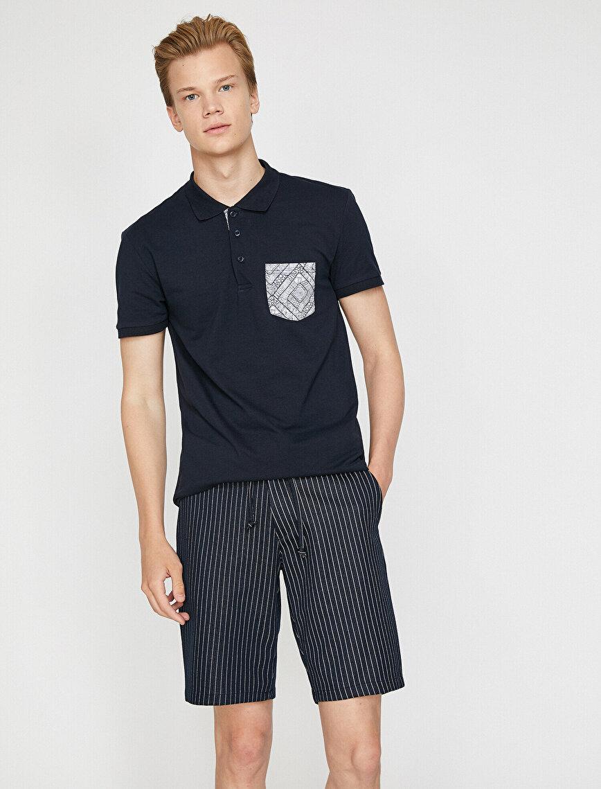 Polo Yaka Baskılı Cep Detaylı Pike Kumaş Slim Fit Tişört