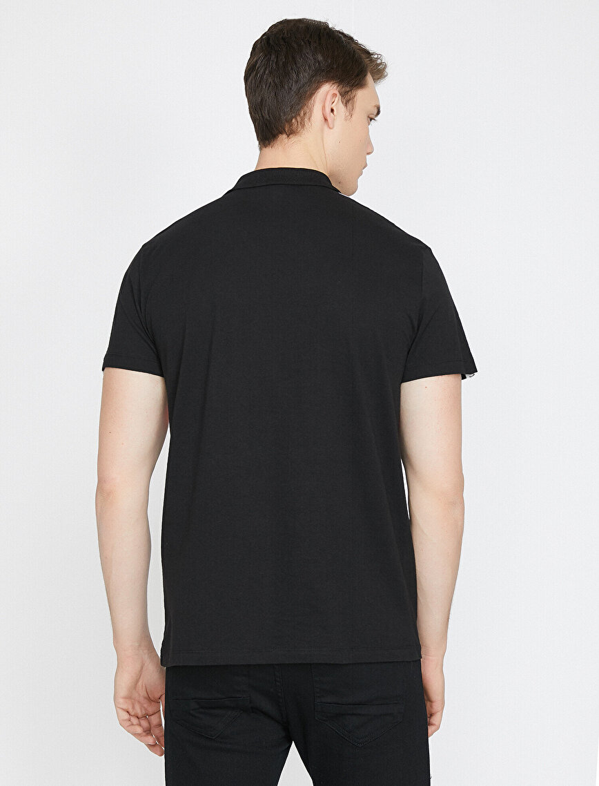 Polo Yaka Omuz Baskılı Renk Bloklu Slim Fit Tişört